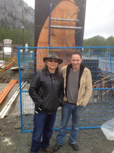 Public art. A large scale public art piece. A pedestrian overpass at the base of the Squamish Chief. Working with Xwalacktun (on left, well respected and known Squamish artist, and recipient of the Order of B.C.) we created this piece in Spirit Works' Studio. On the right is Shain Jackson.